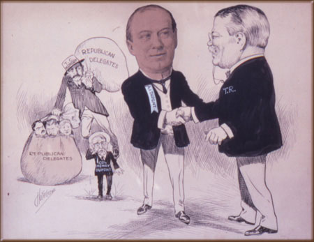 Caricature Drawing of Alfred & Teddy Roosevelt
